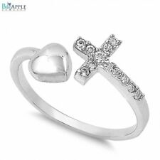Sideway Bypass Cross Heart Love Ring Solid 925 Sterling Silver Clear CZ