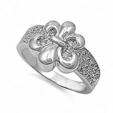 Swarovski Fleur De Lis Ring Solid 925 Sterling Silver Round Russian CZ