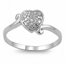 Bypass Heart Shape Ring Solid 925  Sterling Silver White CZ Valentines Gift