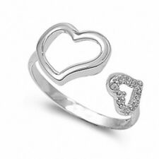 Cute Double Heart Ring Solid 925 Sterling Silver White CZ Valentines Love Gift