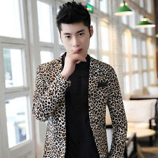 Mens Casual Slim leopard one Breasted Casual Blazers Suits coat jacket fashion