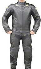 NEW 2 Pc Motorcycle Racing Riding Leather Track Suit w/ Armor Black