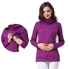 Winter Turtleneck Warm Maternity T-shirt Nursing Top Women Breastfeeding Clothes