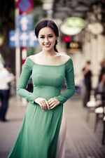 Turquose Green Vietnam Ao Dai, Chiffon Dress, White Satin Pant, Round Neck