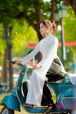 White and Black Satin Vietnam Ao Dai, Dress and  Pant, V Neck, Long Sleeves