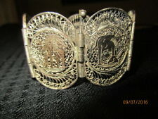 VINTAGE  EGYPTIAN FIGURAL SILVER FILIGREE WIDE PANEL BRACELET   7""