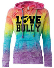 Love Bully Rainbow Hoodie for women pitbull hoodie american bully sizes sm- 2X
