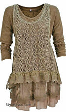 Victorian Vintage Pretty Angel Clothing Ameline Two Piece Sweater In Brown 18715