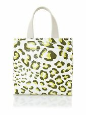 Furla Divide It SMALL Tote Bag Leopard Print Leather Olive Papaya Made In Italy
