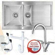 1.5 Bowl Stainless Steel Kitchen Sink Reversible Drainer + Popular Mixer Tap