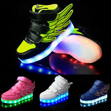 New Boys Girls LED Light up Lace Up Luminous Sneakers Kids Casual Shoes UK311