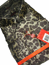 Mens Leonardi High Fashion Shirt 445 Natural Brown Colors Exotic Animal Pattern
