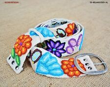 "Wool embroidered belt - peruvian White belt - Belts for Womens -""Magical Floral"""