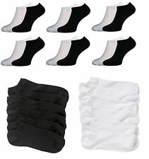Mens Womens Trainer Liner Ankle Socks Cotton Rich Sport Black White 3 6 12 Pairs