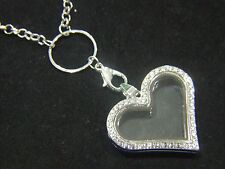 Living Memory Locket + Chain For Floating Charms Glass Heart Necklace Pendant