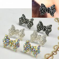 Women Lovely Cute Rhinestone Crystal Bowknot Bow Tie Earrings Ear Studs FT