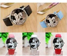 Leather Cartoon Mickey Mouse Wrist Watch Lady Girl Women Teens Kids Watches