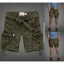 NWT ABERCROMBIE & FITCH MENS CARGO SHORTS WITH BELT OLIVE GREEN SIZE 32 A&F