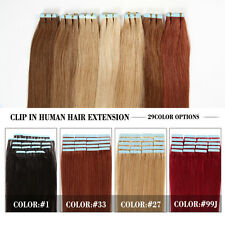Clip In Remy 100% Real Human Hair Extensions Black Brown Blonde Full Head 7PC