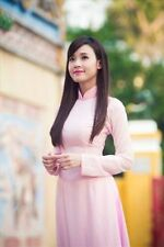 Light Pink AO DAI Vietnam Tailor MADE, Silk Dress, Satin for Pant, Good price