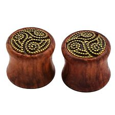 Pair Ear Gauges Saddle Flared Brown Wooden Ear Plugs Piercing Jewelry