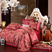 Red Leaf Euro Satin Egyptian Cotton Queen King Size Bed Quilt/Doona Cover Sets