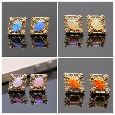 Charm 4 Color Square Cross Opal Crystal Stud Earring 18k Gold Plated Earring