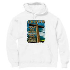 Pullover Hooded hoodie christian sweatshirt Jesus beat devil with big ugly stic