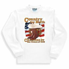 Christian SWEATSHIRT Country by Birth Christian by the Grace of God Cowboy boots
