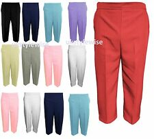 WOMENS 3/4 THREE LENGTH CAPRI CROP CROPPED PLAIN LADIES PANTS SIZE COLOUR