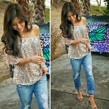 1pc Sequined 1/2 Sleeve Sexy Party Club Bling Off Shoulder Blouses Vest Tank Top