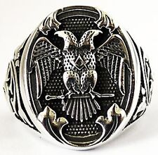 DOUBLE-HEADED EAGLE EMPIRE MASONIC STERLING 925 SILVER RING