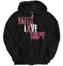 Breast Cancer Awareness Faith Love Hope Pink Ribbon Gift Ideas Zipper Hoodie