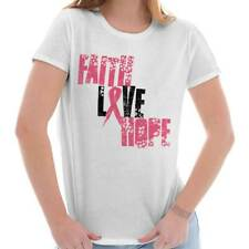 Breast Cancer Awareness Faith Love Hope Pink Ribbon Gift Ideas Ladies T-Shirt