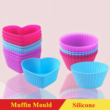 Muffin Mould Silicone Candy Cup Cake Icing Baking Molds 4pcs Heart Shape Round