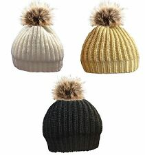 LADIES KNITTED BEANIE HAT WITH FUR & POM POM