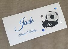 1 x Handmade Personalised Birthday Money Gift Voucher Wallet Card Football