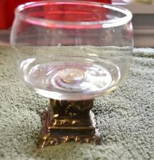 Vintage Hollywood Regency Brass/Gold and Glass Vanity Soap Dish/Candle holder
