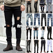 Men's Designed Straight Slim Fit Biker Denim Jeans Trousers Casual Ripped Pants