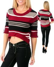 Size 14 16 Black Red Grey White Stripe Hi Lo 3/4 Sleeve Knit Crop Jumper Top NWT