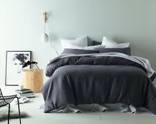 Slate Grey -  Linen Cotton Waffle Quilt Doona Cover Set SINGLE DOUBLE QUEEN KING