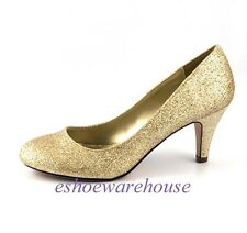 Round Toe Cutie Comfy Mid Heel Pumps Shoes Champaign Glitter