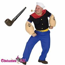 Mens Popeye Sailor Humourous Men Adult Costume Party Dress with Smoking Pipe