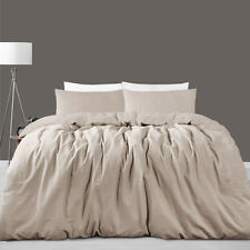 Taupe Linen Cotton Vintage Wash Quilt Doona Cover Set - QUEEN KING Super KING