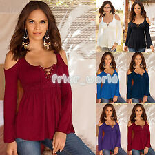 Oversize Womens T-shirt Long Sleeve Off Shoulder Casual Cross Lace Up Top Blouse