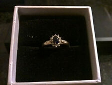 9ct Gold Sapphire And Diamond Shouldered Ring Size N