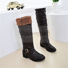 New Womens Riding Over The Knee Boots PU Pull On Low Heel Shoes High Boots