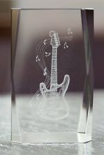 Crystal Glass 3D Etched Guitar Paperweight