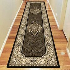NEW Saray Rugs Crown Star Oriental Runner Rug in Black, Brown, Red