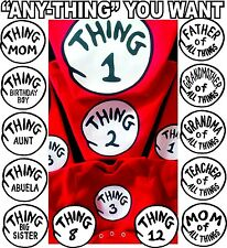 Thing 1 T SHIRT THING 2 CUSTOM FAMILY NAMES & ALL #'S adult youth infant toddler